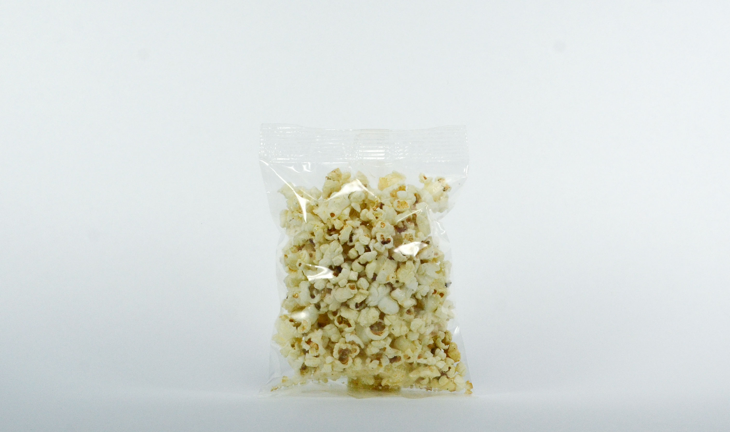 pre-packaged .75 ounce heat sealed kettle corn bag