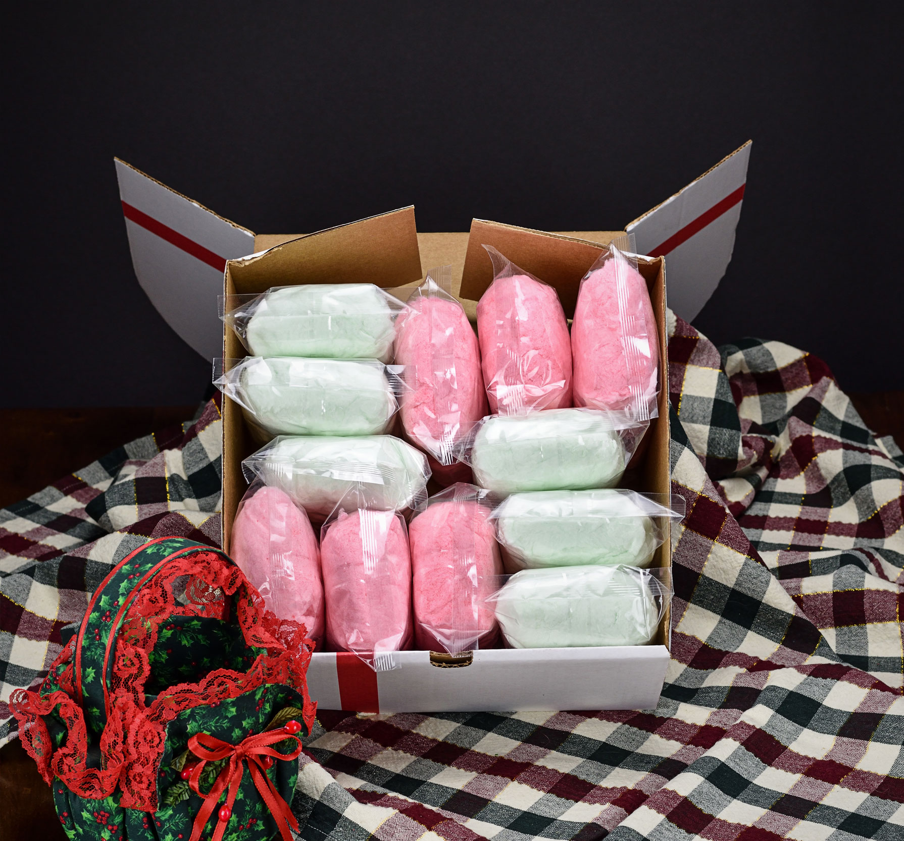 12 red and green cotton candy bags