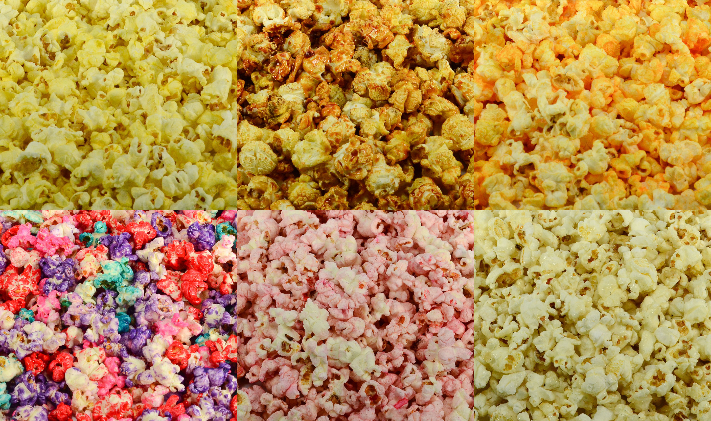 colored popcorn sample/snack pack